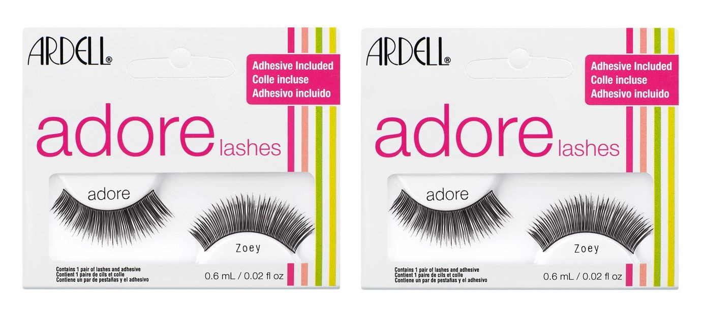 628421c22de Sentinel 2 x Ardell Adore 'Zoey' Lashes - Long Black False Lashes - Adhesive  Included