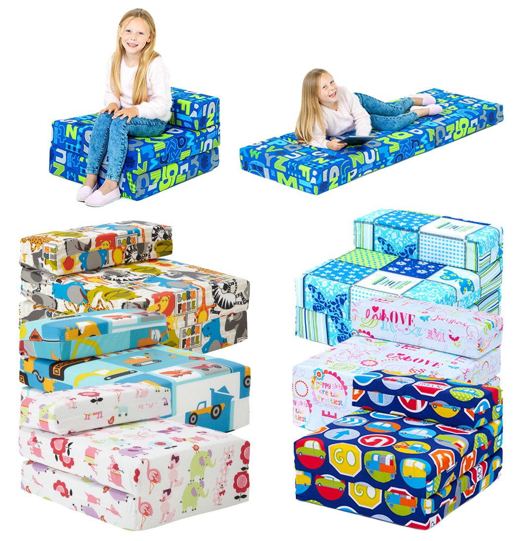 Kids Character Foam Fold Out Sleep Over Guest Single Futon Chair