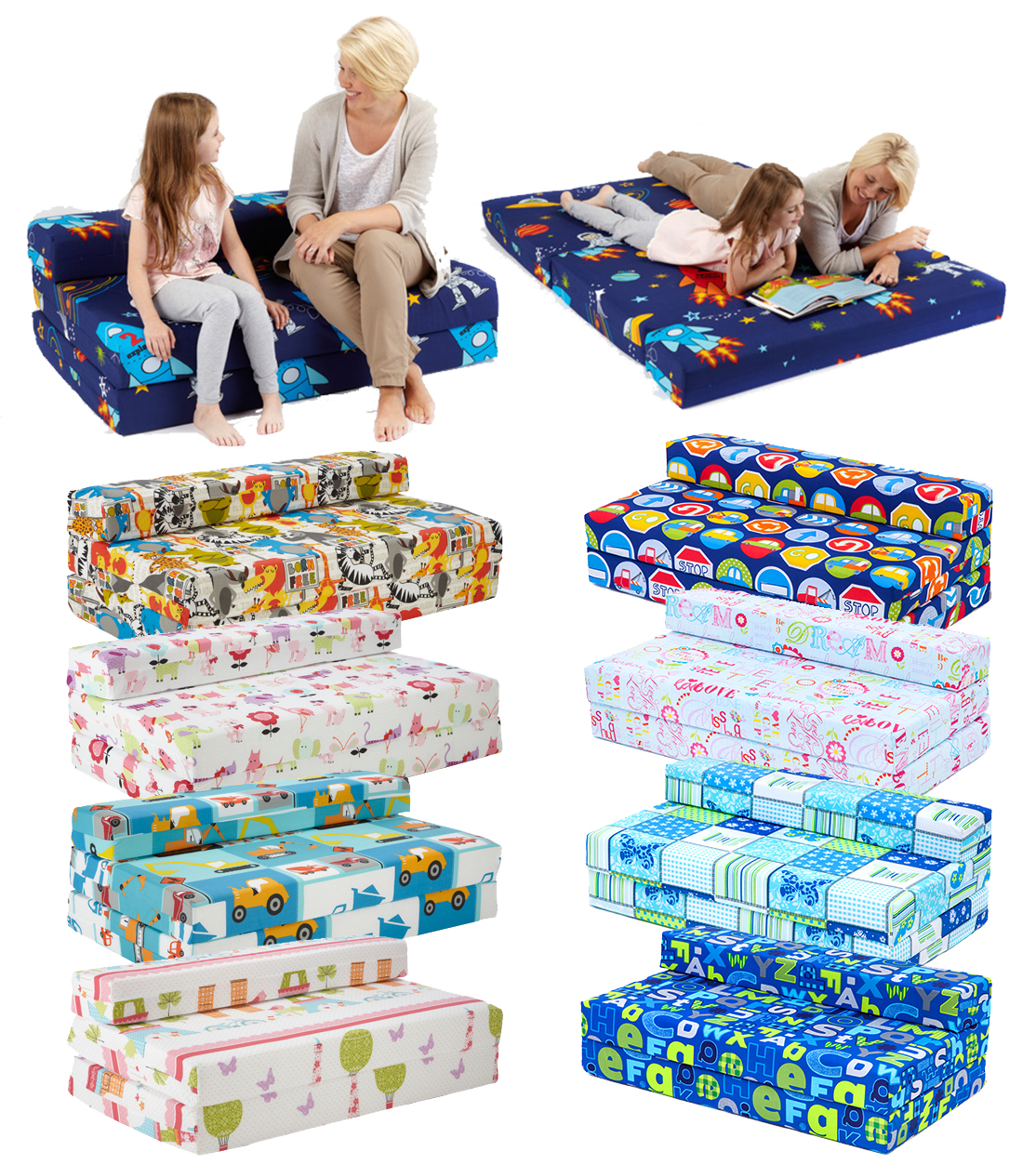Childrens Character Kids Double Guest Folding Z Bed