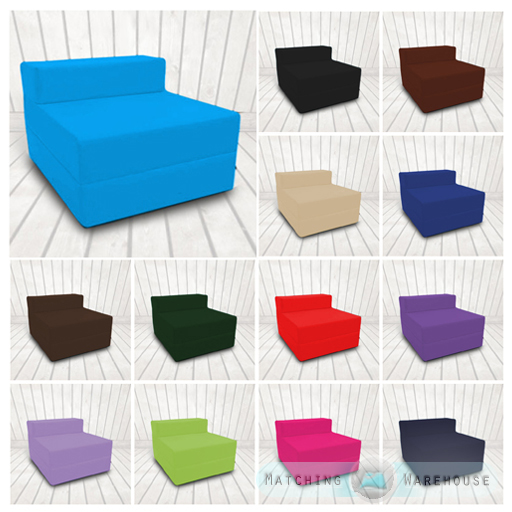 Cotton Twill Z Bed Single Size Fold Out Chairbed Chair