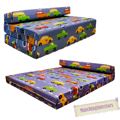 best loved 78b7d 136fd Details about Double Kids Folding Guest Bed Traffic Express Boys Cars  Sofabed Sofa Mattress