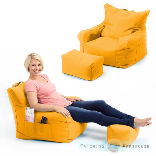 Large Indoor Outdoor Bean Bag Garden Chair Amp Foot Stool
