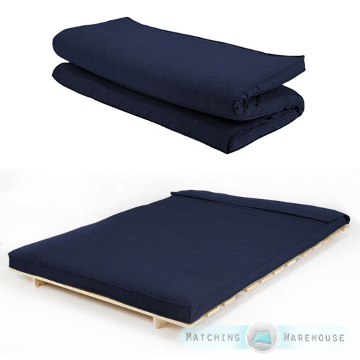 Navy Textured Fabric Double Folding Sleeping Bed Replacement Mattress For Futon About This Product Picture 1 Of 2