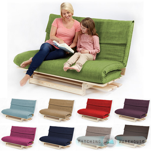 Double 2 3 Seater Textured Fabric Wood Futon Base Foam Mattress Sofa Bed Ebay