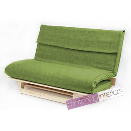 lime double 2 seater fabric complete futon wood base. Black Bedroom Furniture Sets. Home Design Ideas