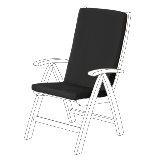 Black Water Resistant Highback Garden Dining Chair Back Seat Cushion Pad Only Ebay