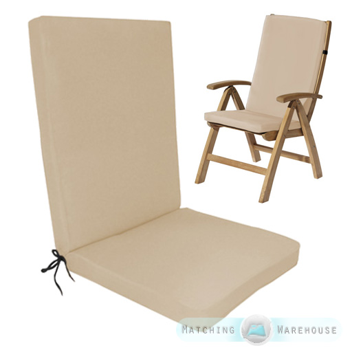 Highback Garden Dining Chair Cushion Pad Outdoor Furniture High Back