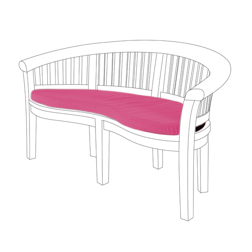 Pink 2 Seater Water Resistant Outdoor Cushion Garden Banana Bench Seat Pad ONLY