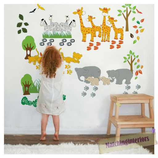 childrens savannah animals safari wall stickers decals nursery