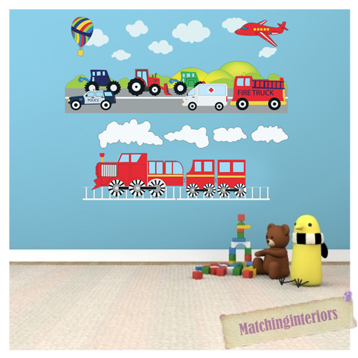 Childrens Transport Vehicles Cars Wall Stickers Decals Nursery ...