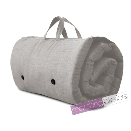 Grey Travel Guest Sleepover Single Mattress Roll Up Futon