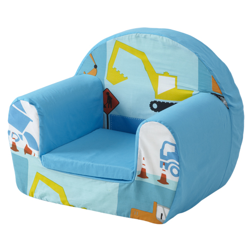 Construction Blue Childrens Kids Comfy Foam Chair Toddlers Armchair ...