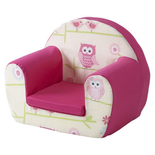 Owls twit twoo pink childrens kids comfy foam chair for Pink kids chair