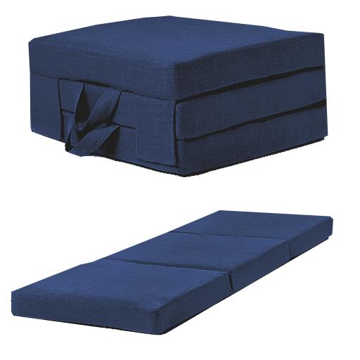 Blue Linen Effect Single Chair Z Bed Folding Futon Fold Out Foam ...