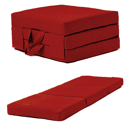 Soft Suedette Fold Out Single Chairbed Guest Folding: Red Linen Effect Single Chair Z Bed Folding Futon Fold Out