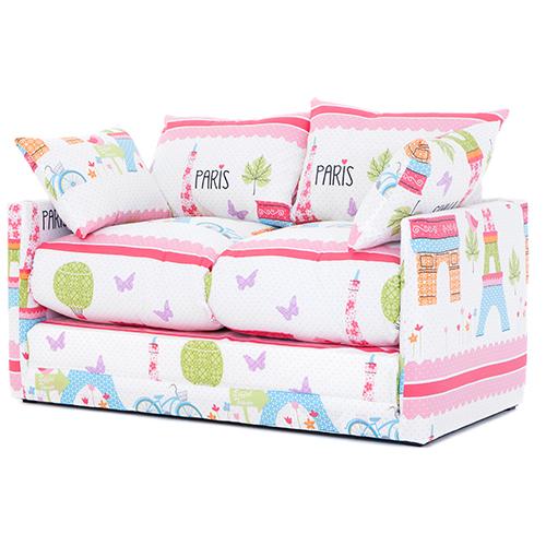 Paris City Print Childrens Bedroom Sofa Bed Fold Out Futon Guest