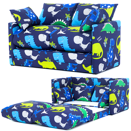 Dino In The Dark Childrens Lily Foam Fold Out Sofa Bed Lounger Ready Steady