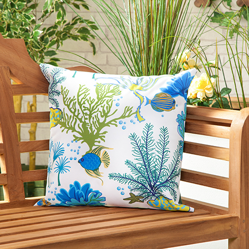 Aquatic Blue Waterproof Canvas Outdoor Scatter Garden Filled Cushion ...