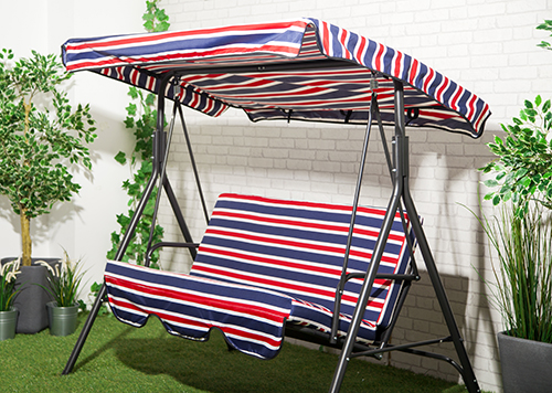 Stripes Replacement Canopy for Swing Seat Garden Hammock 2 u0026 3 Seater Size Cover | eBay & Stripes Replacement Canopy for Swing Seat Garden Hammock 2 u0026 3 ...