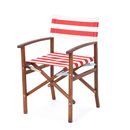 Red White Stripes Director Chair Replacement PU Coated Canvas Covers ...