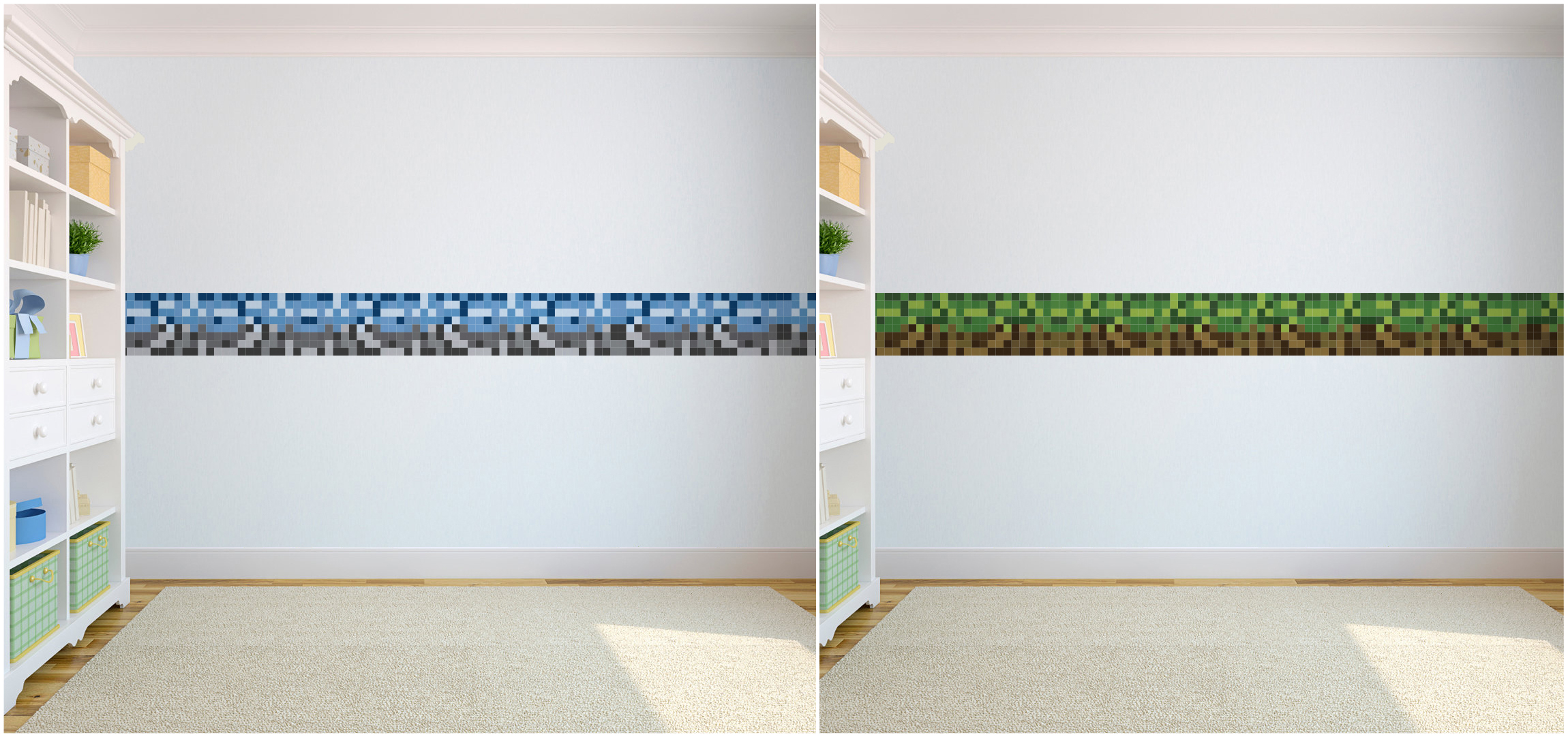 pixels design children 39 s bedroom wallpaper border self adhesive kids mining game ebay. Black Bedroom Furniture Sets. Home Design Ideas