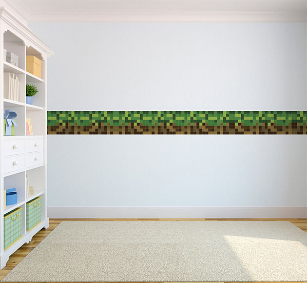 green brown pixels wallpaper border self adhesive children 39 s bedroom stickers ebay. Black Bedroom Furniture Sets. Home Design Ideas