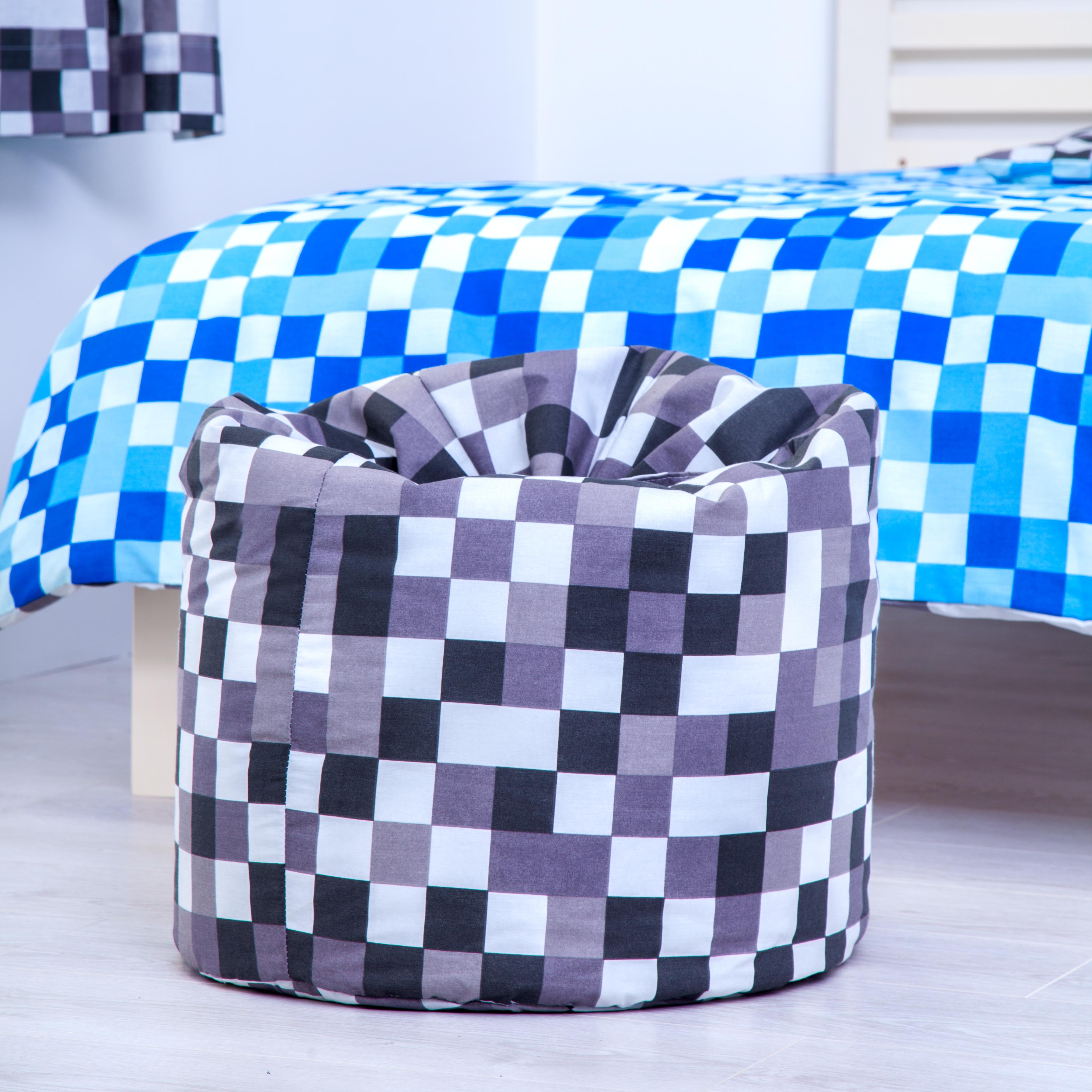 Grey Stone Pixels Childrens Filled Beanbag Kids Bedroom