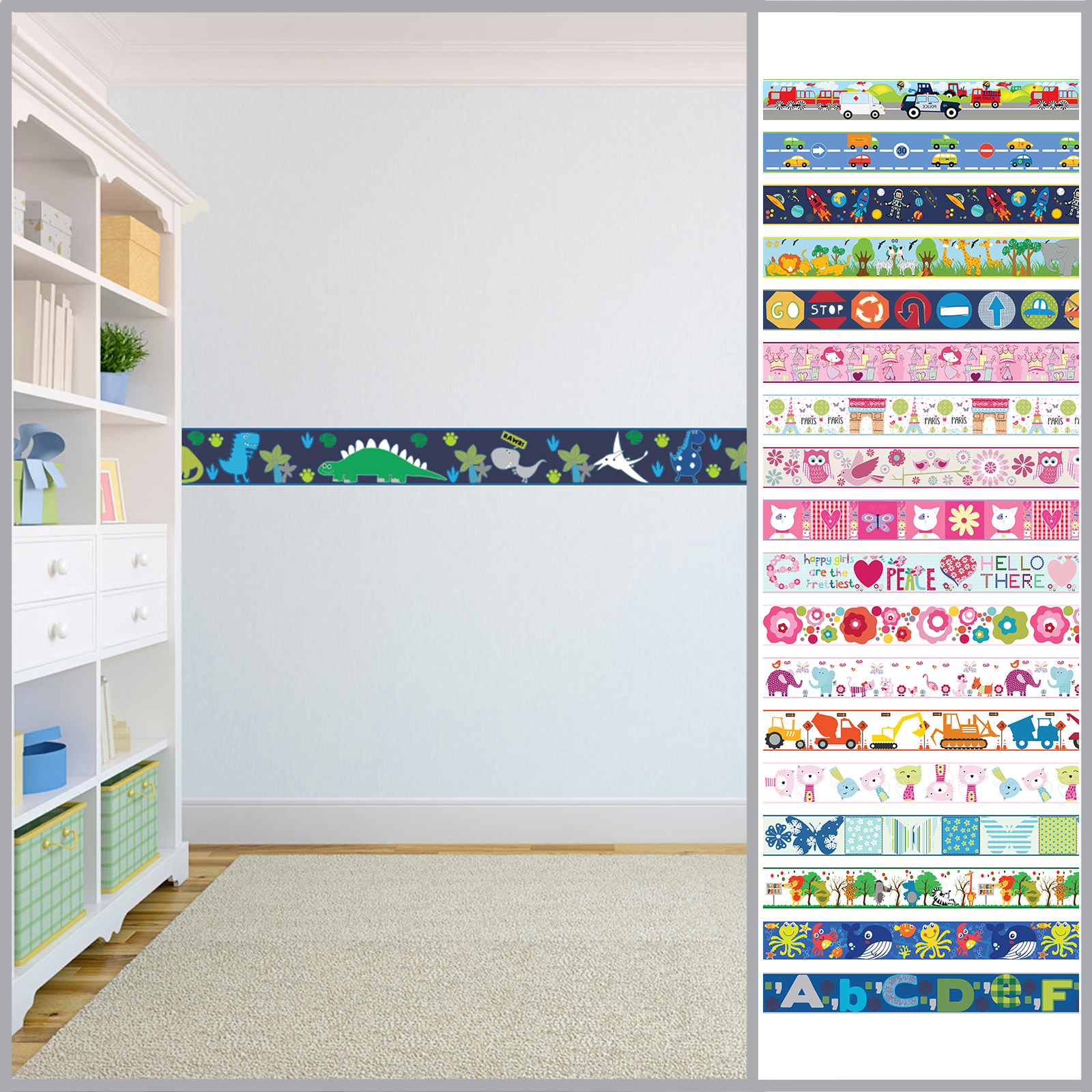 Details about Wallpaper Borders Children\'s Kids Nursery Boys Girls Bedroom  Wall Self Adhesive