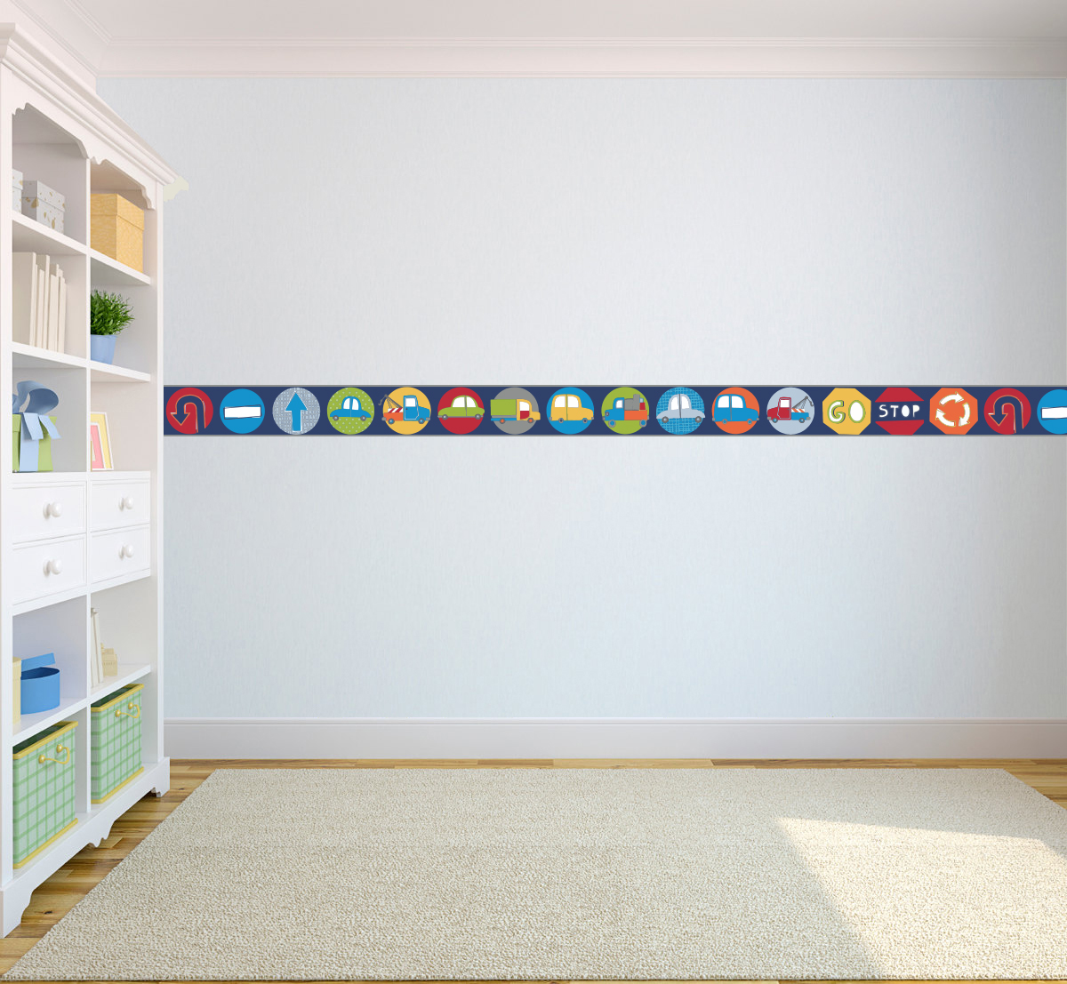 Boy S Bedroom With Feature Wall: Wallpaper Borders Children's Kids Nursery Boys Girls
