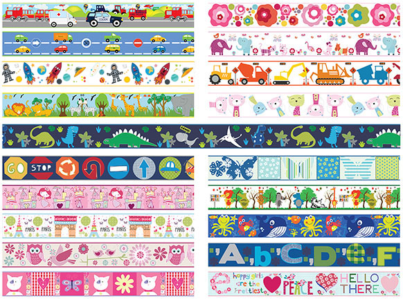 From only £0.00 - Savannah Animals Children's Bedroom Self Adhesive Wallpaper Border