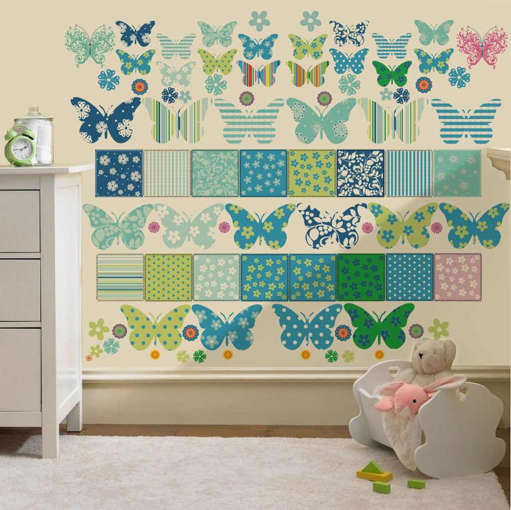 Childrens Butterfly Patchwork Wall Stickers Decals Nursery ...