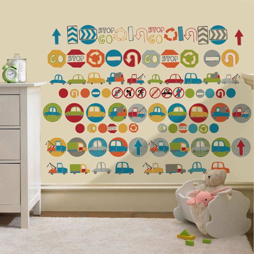 Childrens Road Signs Cars Wall Stickers Decals Nursery Boys Room ... Part 35