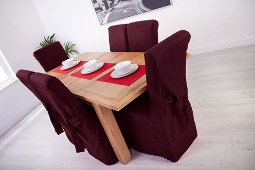 1 X Plum Linen Fabric Dining Chair Covers For Scroll Top