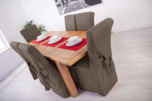 Set Of 4 Slate Grey Fabric Dining Chair Covers For Scroll Top High