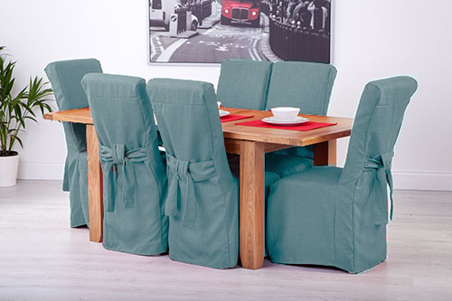 Set Of 6 Duckegg Fabric Dining Chair Covers For Scroll Top High Back