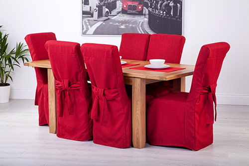 Set Of 6 Red Linen Fabric Dining Chair Covers For Scroll