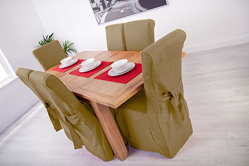 Set Of 6 Sand Linen Fabric Dining Chair Covers For Scroll