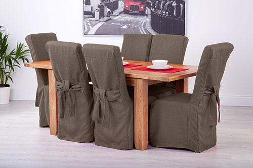 Set Of 8 Slate Grey Fabric Dining Chair Covers For Scroll Top High