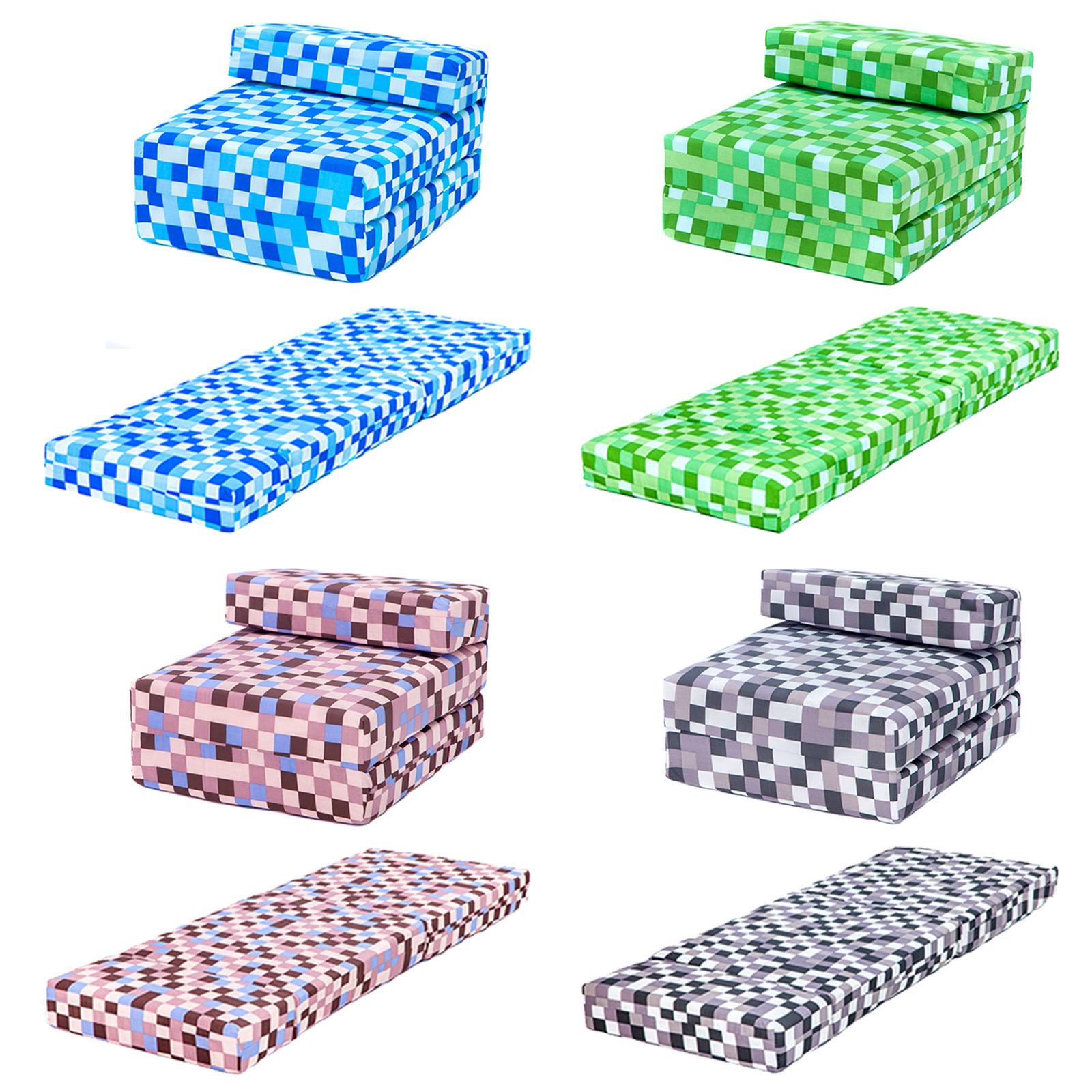 Pixels Kids Foam Fold Out Sleep Over Guest Single Futon