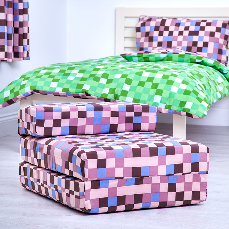 Pixels Kids Foam Fold Out Sleep Over Guest Single Futon ...