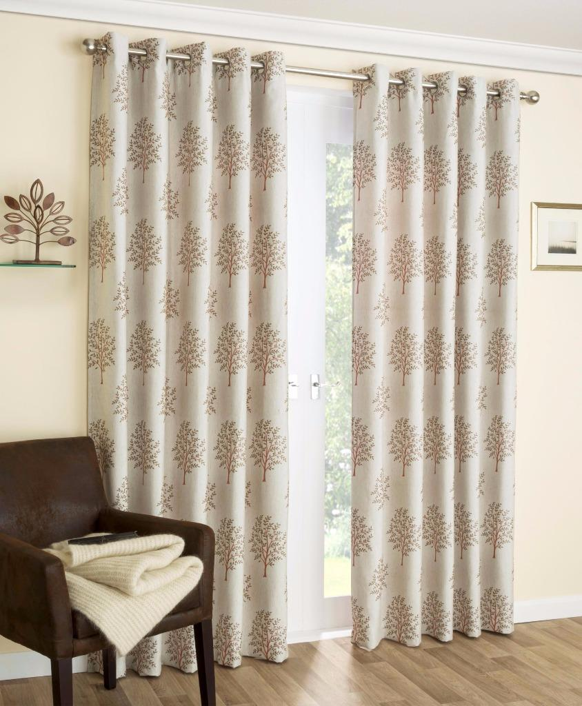 Embroidered Eyelet Curtains Fully Lined Mulberry Pattern With Tiebacks Ring Top Ebay
