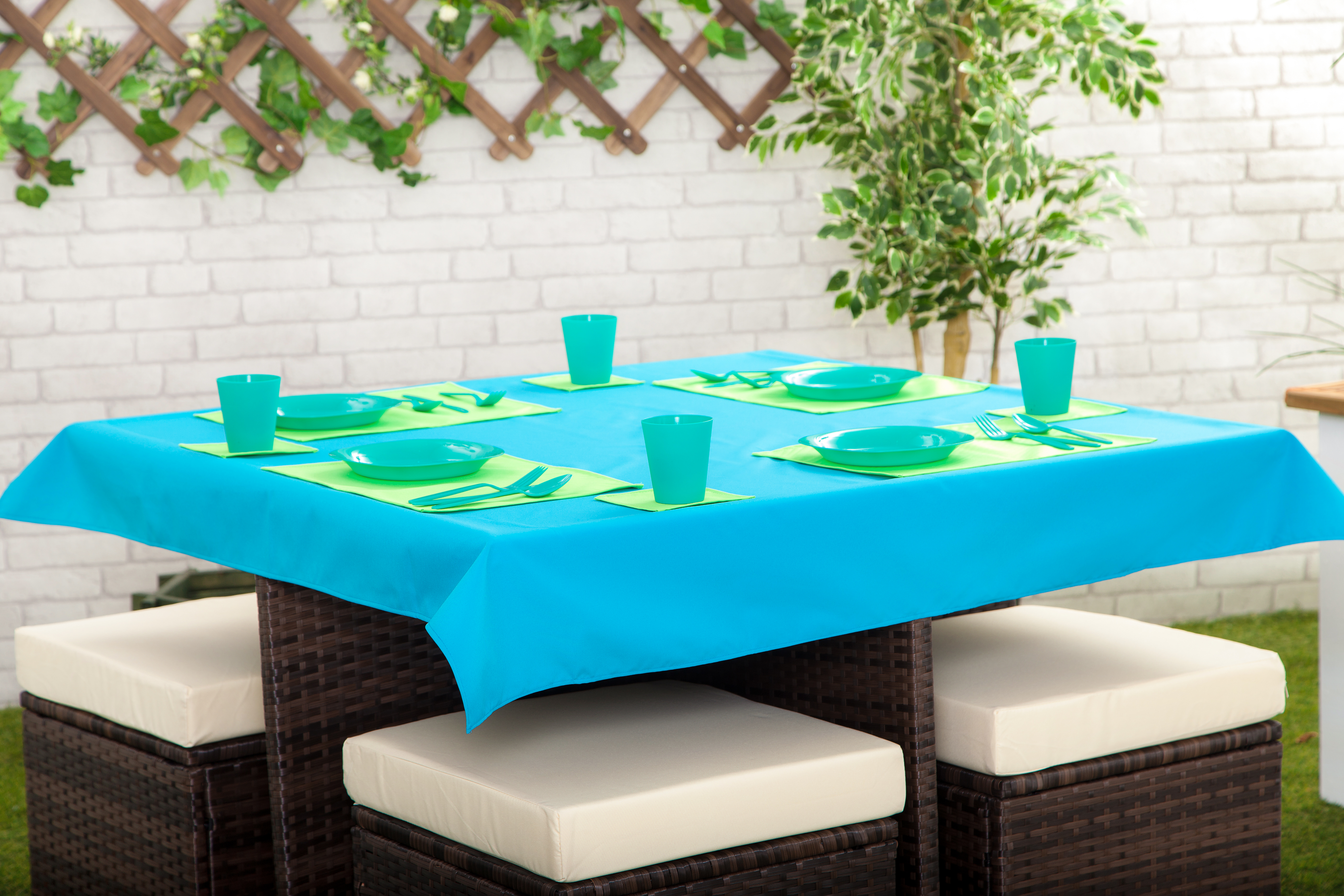 Details about Outdoor Waterproof Garden Dining Table Cloths Place Mats  Coasters Collection