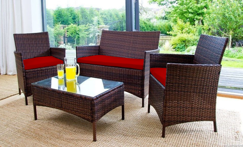 Images - Red Replacement 3pc Cushions Set To Fit Rattan Garden Furniture