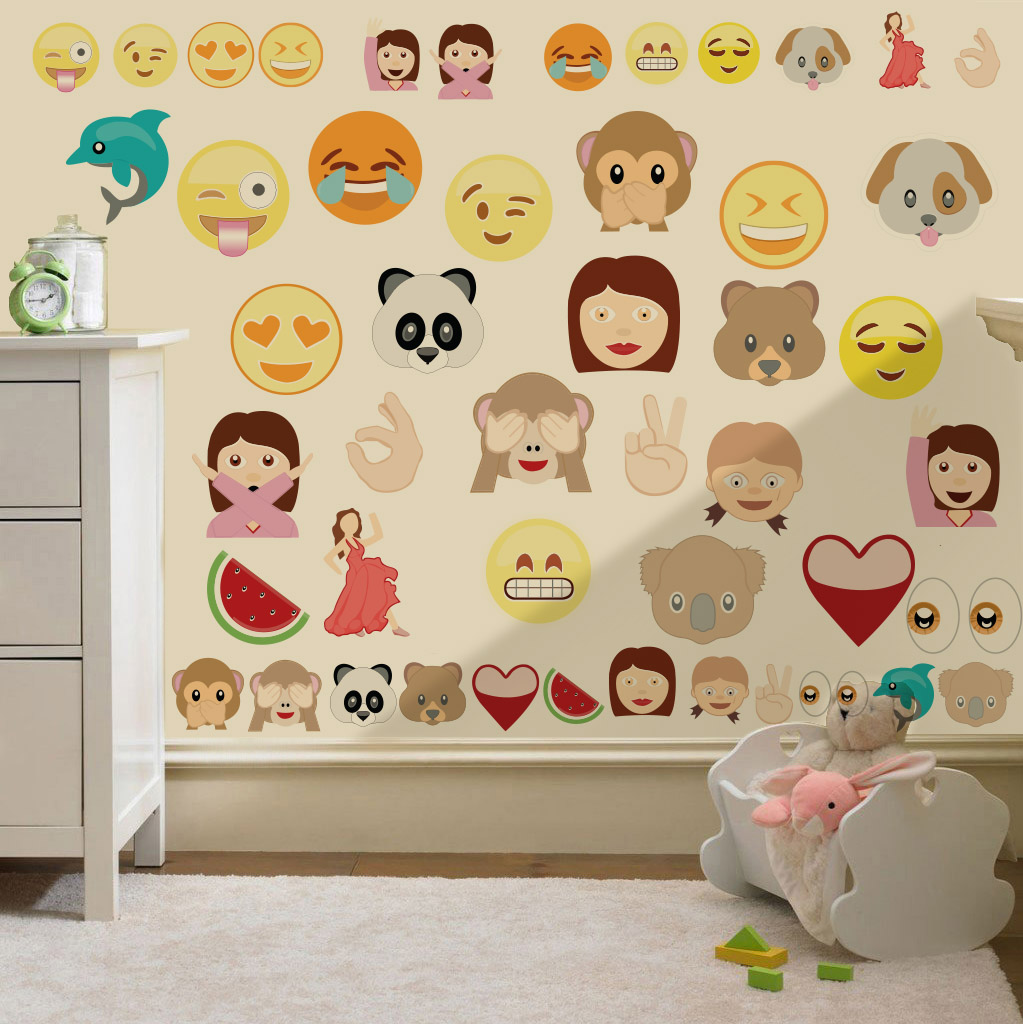 Childrens Emoji Emoticons Wall Stickers Decals Nursery Boys Girls ... Part 37