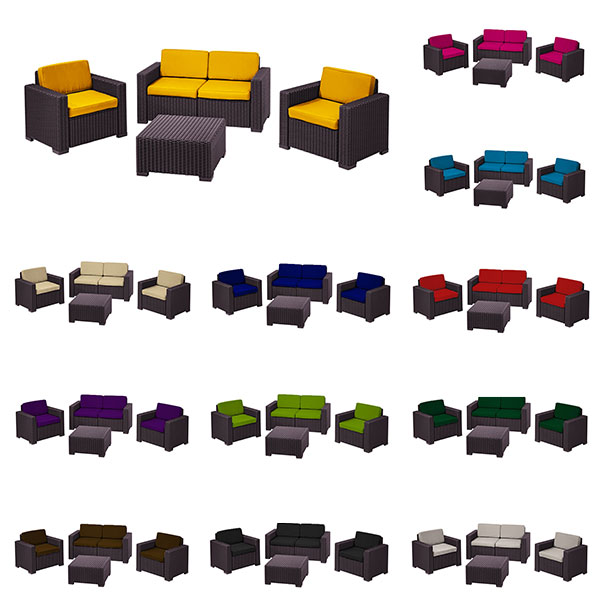 replacement 8pcs cushions set to fit keter allibert california garden furniture ebay. Black Bedroom Furniture Sets. Home Design Ideas