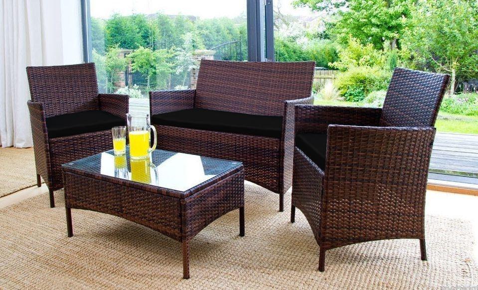 Ersatz 3 Stk. Kissen Set passend für Rattan Gartenmöbel Stühle Sofa ...