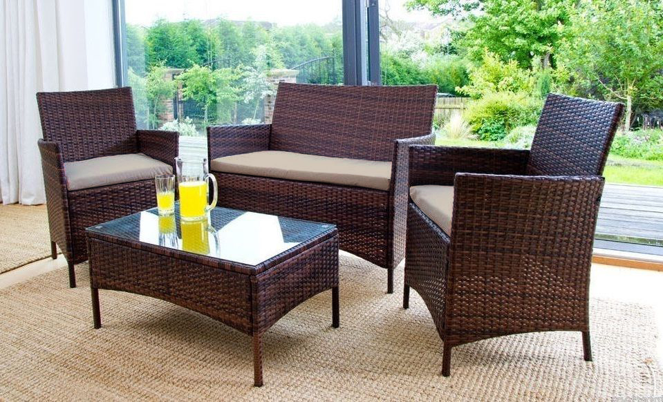 Replacement 3pc cushions set to fit rattan garden for Sandhill outdoor sectional sofa set replacement cushions