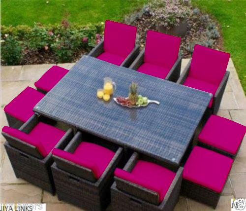 Pink Garden Furniture Pink 16 piece cushion set for 10 seater rattan garden furniture images workwithnaturefo
