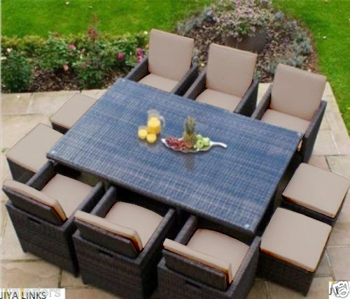 Set For 10 Seater Rattan Garden Furniture Dining Cube About This Picture 1 Of 2