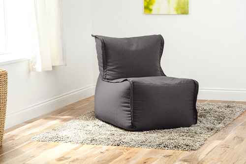 Grey Wool Feel Modular Sectional Bean Bag Sofa Zip